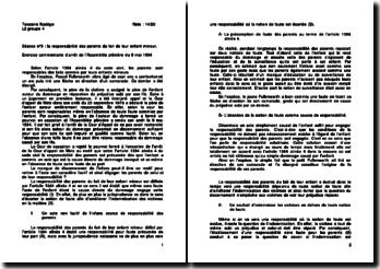 Cour de cassation, Assemblée plénière, 9 mai 1984: la responsabilité des parents du fait de leur enfant mineur