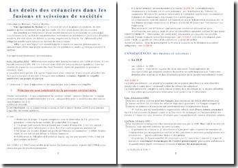 Les droits des créanciers dans les fusions et scissions de sociétés