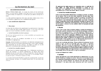 La formation du bail: les conditions de fond et de forme