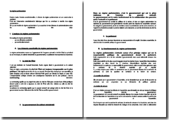 Le régime parlementaire - éléments constitutifs et foncitonnement