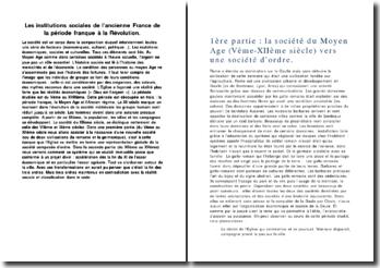 Les institutions sociales de l'ancienne France de la période franque à la Révolution