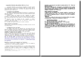 La garantie d'éviction des articles 1625 et suivants du Code civil