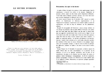 Le mythe d'Orion dans un ordre chronologique