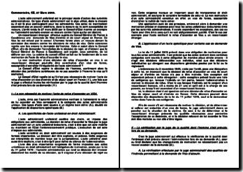 Conseil d'Etat, 27 mars 2009: l'irrégularité d'un acte administratif