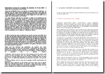 Commentaire d'arrêt de la chambre de cassation, le 10 mai 2006 : le respect de la personnalité et de l'honneur