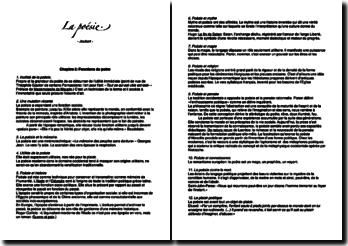 La poésie - Jean-Louis Joubert: analyse littéraire de chaque chapitre du livre