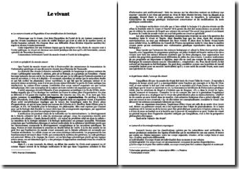Le vivant - Anne Fagot-Largeault: commentaire sur l'unité du monde vivant et l'unité de la biosphère