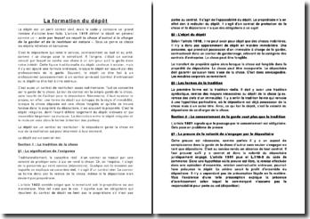 La formation du dépôt dans le code civil français: définition et obligations