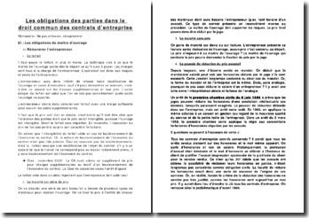 Les obligations des parties dans le droit commun des contrats d'entreprise