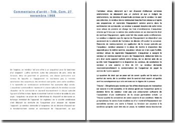 Commentaire d'arrêt, Tribunal de Commerce, 27 novembre 1968: la nature du contrat de vente