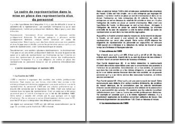 Le cadre de représentation dans la mise en place des représentants élus du personnel