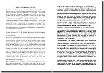 Les télé-procédures: échanges de données entre les autorités publiques, le service public de la justice, et les usagers