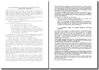 La reconnaissance des jugements en matière civile et commerciale, Bruxelles I