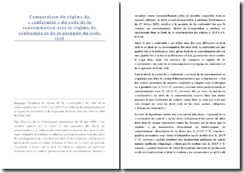 Comparaison du régime de « conformité » du code de la consommation avec le régime de conformité et de la garantie du Code civil