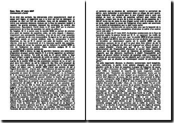 Cour de cassation, Chambre commerciale, 27 mars 2007: les conditions de validité des conventions