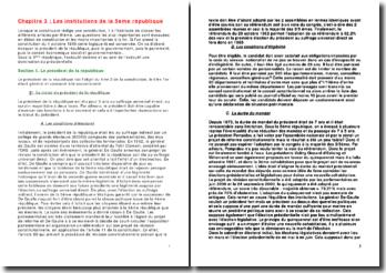 Les institutions de la 5ème république: le président, le gouvernement, le parlement et les conseils