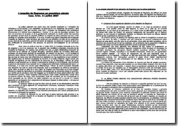 Cass. Crim. 11 juillet 2007: l'enquête de flagrance en procédure pénale