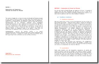 Organisation de coopération : l'exemple du Conseil de l'Europe