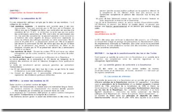 L'organisation et les attributions du Conseil Constitutionnel