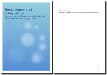 Recrutement et intégration: analyse des différentes méthodes de recrutement et d'intégration