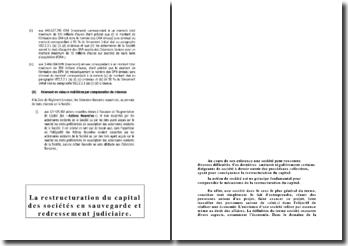 La restructuration du capital des sociétés en sauvegarde et redressement judiciaire