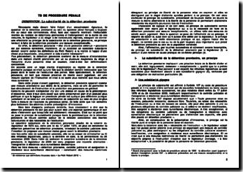 La subsidiarité de la détention provisoire