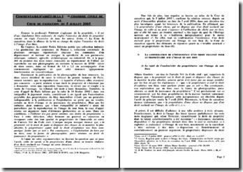 Commentaire d'arrêt de la 1ere chambre civile de la cour de cassation du 5 juillet 2005: droit de propriété et droit à l'image d'un bien
