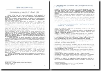 Commentaire de Cass. Civ. 1ère, 7 avril 1998; distinction fondamentale des biens entre les biens meubles et les biens immeubles