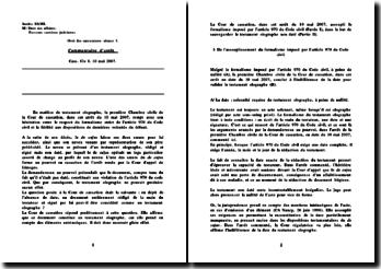 Commentaire d'arrêt, Cass. Civ 1. 10 mai 2007: droit des successions