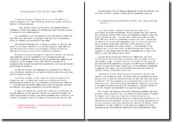 Commentaire d'arrêt du 3 mai 2006: le droit de rétention
