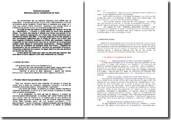 Fiche bac français: méthodologie du commentaire de texte