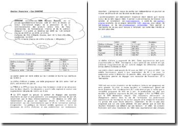 Gestion financière d'un groupe agroalimentaire français, étude de cas: Danone