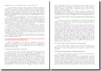 Commentaire d'arrêt, Assemblée Plénière, 1er décembre 1995: détermination du prix