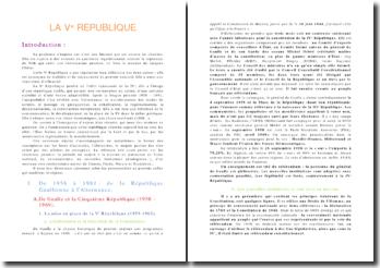 La Vème République - de de Gaulle à Mitterand