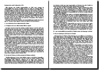Commentaire arrêt 12 décembre 1984: la responsabilité personnelle d'un mineur
