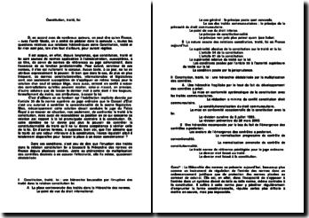 Constitution, traité et loi (plan détaillé)