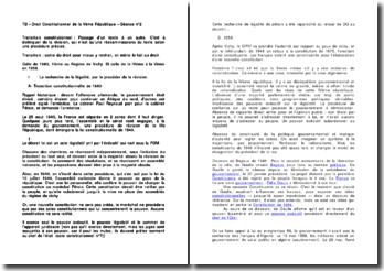Droit Constitutionnel de la Vème République : transition constitutionnelle