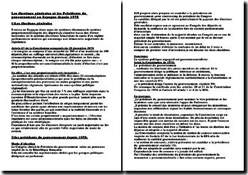 Les élections générales et les Présidents du gouvernement en Espagne depuis 1978