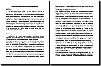 Le désenchantement du monde - Marcel Gauchet - principes organisateurs de la société et transformation de l'univers social