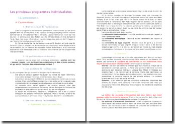 Sociologie: les principaux programmes individualistes