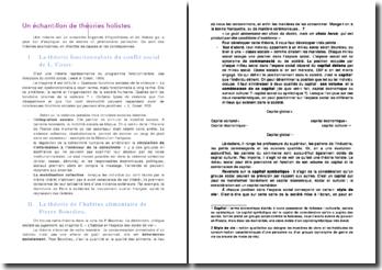 Sociologie: échantillon des théories holistes