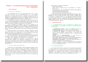 Les institutions politiques françaises: les caractères généraux de la Constitution de la Vème République