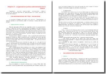 L'organisation politico-administrative de la France
