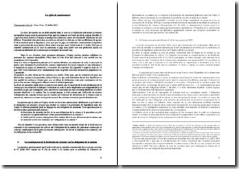 Commentaire d'arrêt, Cass. Com., 12 juillet 2011: les effets du cautionnement