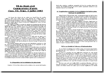 Commentaire d'arrêt, Cass. Civ. 3ème, 2 juillet 2003: cadre du contrat de bail