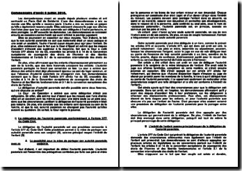 Commentaire d'arrêt 8 juillet 2010: délégation de l'autorité parentale