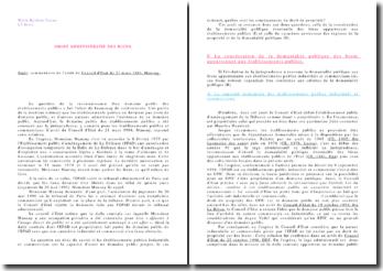 Droit administratif des biens: commentaire de l'arrêt du Conseil d'Etat du 21 mars