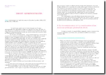 Arrêt du conseil d'Etat du 2 octobre 2002, CCI de Meurthe-et-Moselle: principes généraux du droit