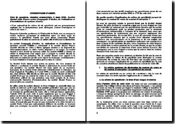 Cour de cassation, chambre commerciale, 6 mars 2001: Société Alcatel câble France contre Compagnie Coris