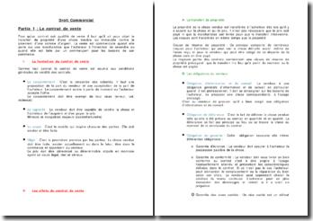 Droit Commercial: les contrats de vente, d'entreprise et de consommation